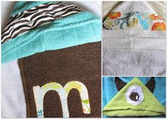 I saw this at kojo designs and have been wanting to make it ever since. I put it off for a while because we have plenty of towels at h. Sewing Patterns For Kids, Sewing Projects For Beginners, Sewing For Kids, Baby Knitting Patterns, Baby Sewing, Sewing Ideas, Hooded Towel Tutorial, Hooded Bath Towels, Baby Towel