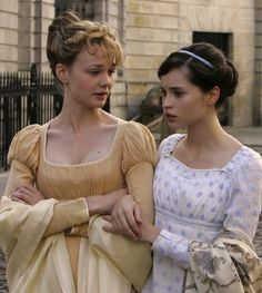 Carey Mulligan as Isabella Thorpe and Felicity Jones as Catherine Morland in Northanger Abbey (2007).