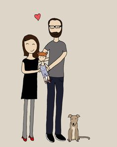 Custom family portraits - too cute Family Portraits, Family Guy, Cute, Fictional Characters, Gift Ideas, Etsy, Family Posing, Kawaii, Fantasy Characters