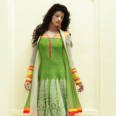 Light Green Cotton Readymade Anarkali Legging Kameez