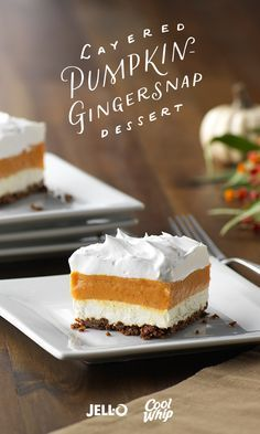A tasty blend of vanilla pudding and pumpkin is layered with creamy whipped topping over a gingersnap cookie crust in this easy, yet elegant, dessert. Get started with JELL-O Vanilla Flavor Instant Pu (Cool Easy Desserts) Thanksgiving Desserts, Holiday Desserts, Holiday Baking, Layered Desserts, Pumpkin Recipes, Fall Recipes, Holiday Recipes, Köstliche Desserts, Delicious Desserts