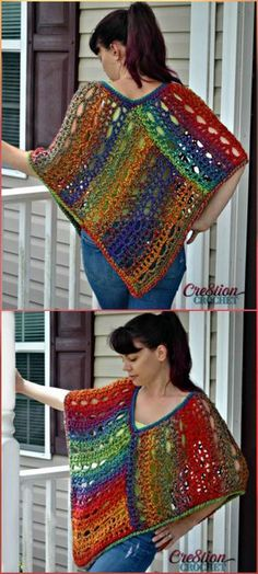 Rainbow Lace Crochet Poncho - 50 Free Crochet Poncho Patterns for All - Page 7 of 9 - DIY & Crafts Poncho Knitting Patterns, Easy Crochet Patterns, Crochet Designs, Crochet Scarves, Crochet Shawl, Crochet Lace, Crochet Blouse, Beautiful Crochet, Crochet Projects