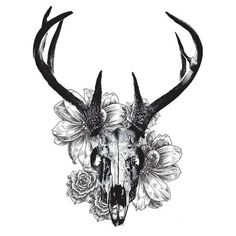 Deer skull and flowers - Temporary tattoos