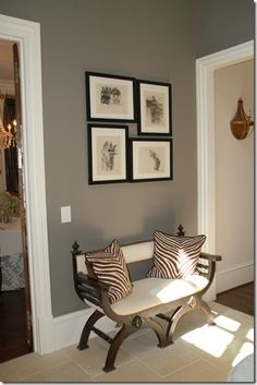 wall color looks similar to ours. Like the bench & photo display, maybe for mud . - wall color looks similar to ours. Like the bench & photo display, maybe for mud room? Entrance Foyer, House Entrance, Entrance Ideas, Entryway Ideas, Hall Colour, Grey Walls, Bedroom Furniture, Furniture Design, Room Decor