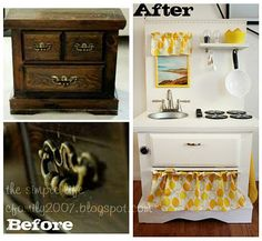 DIY Play kitchen made from nightstand
