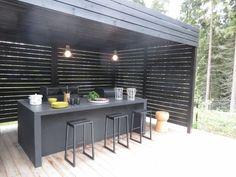 Outdoor Bbq Kitchen, Outdoor Bar Stools, Outdoor Kitchen Design, Kitchen Decor, Backyard Bar, Backyard Patio Designs, Outdoor Rooms, Outdoor Dining, Open Plan Kitchen Living Room