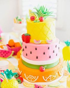 BOLO Festa tuti -frutti  CAKE FOR A {TWO-TT FRUIT party} By pizzazzerie #mae_festeira #kidsparty #festainfantil #ideiasdefesta #bolo #cake #sugarart #pastel