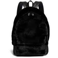Alexander Wang 'Bookbag' kangaroo fur croc effect leather backpack featuring polyvore, fashion, bags, backpacks, black, crocodile backpack, fur backpack, backpacks bags, black leather backpack and black leather knapsack