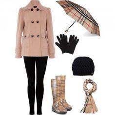 Outfit para lluvia con gabardina, encuentra más opciones para combinar esta prenda aquí...http://www.1001consejos.com/outfits-con-gabardinas/
