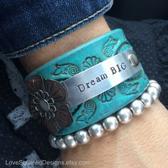 """Dream Big leather cuff bracelet  by LoveSquaredDesigns  Beautiful turquoise leather bracelet embellished with layered copper flower.   """"Dreams are extremely important.  You can't do it unless you imagine it.""""  ― George Lucas"""