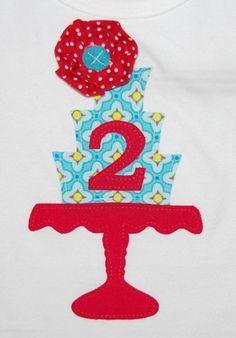 Aqua and Red Rosette Vintage Cake Stand birthday tee by @Kristina -  Modern Frills ... modernfrills.com