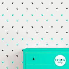 Vinilos decorativos con forma de Triángulos aqua y negro #vinilos #decorativos #infantiles #trama #deco #decoracion #vinilodecorte #corte #pared #triangulos #aqua #negro