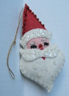 Vintage Handsewn Felt Christmas Ornaments Santa Claus by prWhimsy, $6.00