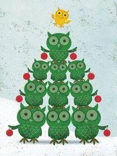 Liane Payne --- how gorgeous is this ? Owl Christmas Tree, Christmas Love, Christmas Crafts, Merry Christmas, Owl Clip Art, Owl Tree, Owl Pictures, Owl Crafts, Christmas Illustration