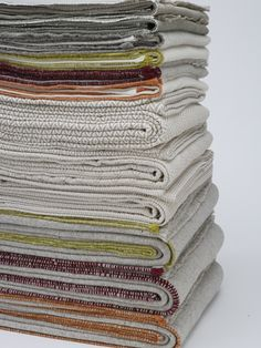 Oh! To have a stack of cotton blankets like this.  I have no need for this many, of course, but I love the way the stack looks!