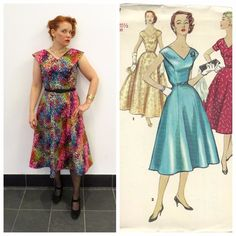 vintage Simplicity 1137 ©1955 in printed cotton sateen