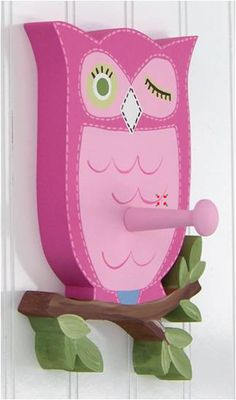 cute coat hanger for girls room... except I'd make the hanger coming off of the tree not the owl haha!