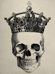 Skull With Crown Engraving Digital Collage door EverythingGraphic