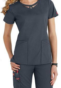 Dickies EDS Signature Peek-A-Boo neckline scrub top. Scrubs Outfit, Scrubs Uniform, Scrubs Pattern, Medical Uniforms, Womens Scrubs, Uniform Design, Nursing Shoes, Medical Scrubs, Scrub Tops