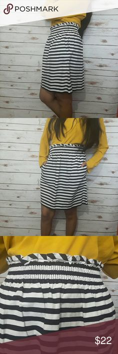 """J. Crew City mini in ripstop cotton Striped skirt ♡ Color: navy blue and white ♡ 100% cotton   ♡Length: ~19"""" ♡Waist:~13 3/4""""  ♡Pre-owned; great condition, no stain, tear, or rips. ♡Due to studio lighting, product be may lighter or darker in pictures.  Bundle 2 or more items in my closet to save 10% and pay only ONE shipping fee!!!  B1 J. Crew Skirts Mini"""