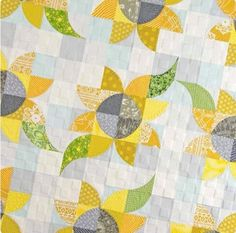 """Here in Iowa, it is drizzly with threats of an ice storm . so, let's think pretty and positive! This is a sneak peak from our upcoming book, """"Mini Wonderful Curves,"""" by - we're so excited! Dog Quilts, Cute Quilts, Panel Quilts, Barn Quilts, Quilting Projects, Quilting Designs, Quilting Ideas, Circle Quilts, Quilt Blocks"""