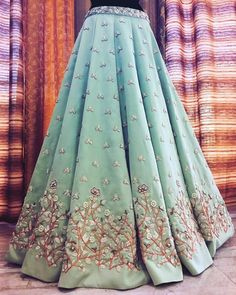 Lovely Taffeta Silk Anarkali Lehenga with Hand Embroidery. Indian Bridal Outfits, Indian Bridal Lehenga, Indian Designer Outfits, Anarkali Lehenga, Lehnga Dress, Blue Lehenga, Indian Gowns Dresses, Shadi Dresses, Designer Bridal Lehenga