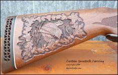 Gun Stock Carving: Walnut Stock Carved with a Wildlife Scene, Flying Bobwhite Quail & Oak Leaf