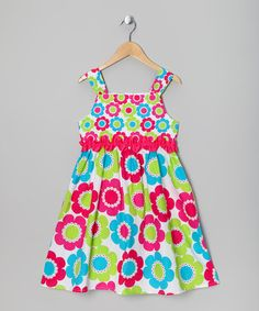 This Hot Pink & Lime Flower Dress is the perfect summer dress...it's bright and sleeveless!