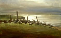 Wire and Stone, Oil Painting 12x20in, 2004