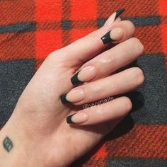 53 New Ideas For Black French Manicure Coffin Acrylic Nails French Tip Acrylic Nails, Best Acrylic Nails, Black French Nails, Black And Nude Nails, Black Nail Tips, Black Acrylic Nails, Black Acrylics, Aycrlic Nails, Swag Nails