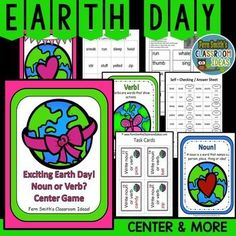 Earth Day Activity - Noun or Verb? An Exciting Earth Day Mega Pack of Task Cards, Center Game, Printables and Interactive Notebook Activities for Earth Day! #TpT #FernSmithsClassroomIdeas