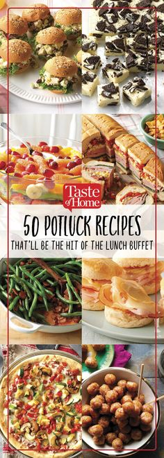 50 Potluck Recipes That'll Be The Hit of The Lunch Buffet - - These can't-miss lunch potluck recipes are always crowd pleasers. Bring one to a party, lunch buffet or potluck spread—we're sure there won't be any leftovers. Potluck Lunch Ideas, Best Potluck Dishes, Church Potluck Recipes, Easy Potluck Recipes, Potluck Appetizers, Healthy Potluck, Work Potluck, Potluck Desserts, Lunch Recipes