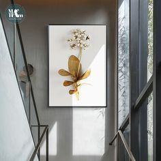 Golden plant leaves and flowers Wall art canvas painting Wall Pictures for Living Room Nordic Decoration Pictures morden decor Leaf Wall Art, 3d Wall Art, Home Decor Wall Art, Wall Art Prints, Room Decor, Decorating With Pictures, Decoration Pictures, Flowers Decoration, Living Room Pictures