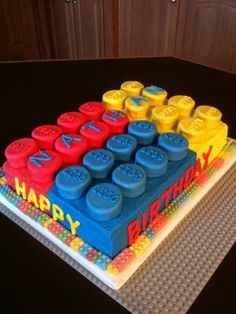 LEGO Birthday Cake for Jordan's birthday. 🙂 LEGO Birthday Cake for Jordan's birthday. Lego Themed Party, Lego Birthday Party, 6th Birthday Parties, Boy Birthday, Cake Birthday, Lego Parties, Birthday Ideas, Lego Torte, Bolo Lego