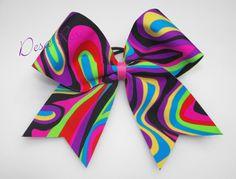Cheer bow Texas Size   Neon Tie Dye by desarosebowtique on Etsy, $12.00