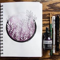 A gorgeous #Inktober piece by @Caseyruth using our gorgeous new #MutedViolet Ink