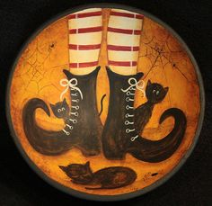 Halloween Folk Art Wood Bowl - Hand painted MADE TO ORDER -  Witch's Striped Stockings and Black Boots with Little Black Cats, Spiders Webs
