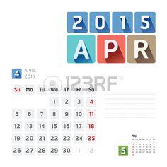 2015 Kalender Vektor-Design. April Stockfoto - 31659246