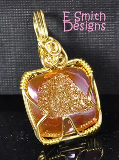SALE  Square spanish rose druzy pendant wrapped in creamy gold like brass wire on Etsy, $99.97