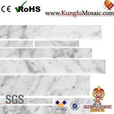 Bianco Carrara Linear Marble Mosaic Stone Mosaic Tile, Marble Mosaic, Mosaic Tiles, Travertine, Carrara, Mosaic Pieces