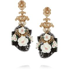 Dolce & Gabbana Gold-tone resin flower clip earrings ($1,145) ❤ liked on Polyvore