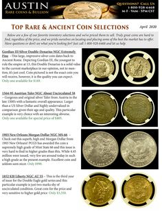 Top Rare & Ancient Coin Selections - Here are a few favorite inventory selections for March The best coins sell first, so if you're looking for something special or don't see what you're looking for, just let us know. Gold And Silver Coins, Coins For Sale, Rare Coins, Old Antiques, The Selection, Coining, This Or That Questions, Artemis, March