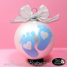 Baby Footprints Ornament - Hand Painted Glass Ball Ornament - Baby's Birth or Birthday or Christmas - Can Be Personalized Baby's 1st Christmas Ornament, Modern Christmas Ornaments, White Ornaments, Baby Ornaments, Hand Painted Ornaments, Christmas Crafts For Kids, How To Make Ornaments, Simple Christmas, Christmas Bulbs