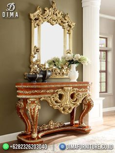 Italian Furniture, Luxury Furniture, Furniture Design, Royal Furniture, Traditional Console Tables, Wooden Console Table, Grey Wood, Upholstered Chairs, Traditional House