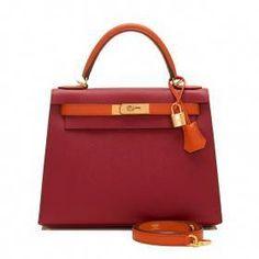 dd75711c140b Hermes Hss Bi Color Rouge Grenat And Terre Battue Epsom Sellier Kelly Gold  Hardware Handbags