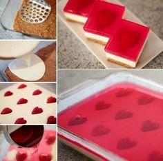 Strawberry Hearts No Bake Jelly Cheesecakes