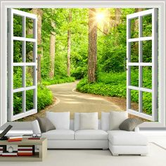 Cheap tv background wallpaper, Buy Quality background wallpaper directly from China photo wallpaper Suppliers: Custom Photo Wallpaper Green Sunshine Forest Road Window Nature Landscape Wall Mural Living Room Sofa TV Background Wallpaper Windows Wallpaper, Dining Room Wallpaper, Cheap Wallpaper, Home Wallpaper, Wallpaper Wallpapers, Nature Landscape, Landscape Walls, Window View, Open Window