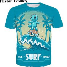 NEW Pokemon T-Shirt Squirtle Surfing Summer Vacation Funny Tees for Unisex  | eBay