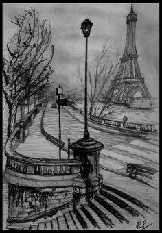 landscape sketch Old Paris street by MareXas on DeviantArt Dark Art Drawings, Art Drawings Beautiful, Pencil Art Drawings, Art Drawings Sketches, Cool Drawings, Creative Pencil Drawings, Hipster Drawings, Pencil Sketches Landscape, Landscape Drawings