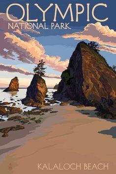 Kalaloch Beach - Olympic National Park, Washington - Lantern Press Poster Voyage Usa, Washington Art, Forks Washington, Photo Vintage, Us National Parks, Vintage Travel Posters, Pacific Northwest, State Parks, Retro